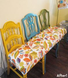 dining rooms, idea, craft, benches, chairbench, color, seat, chair bench, old chairs