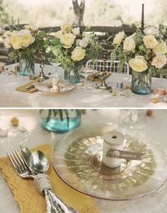 Vintage silver service wrapped with burlap twine.