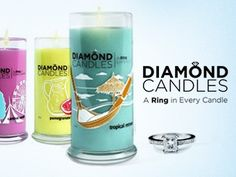 I really want one of these!! Diamond candles: earth friendly all natural soy candles with a ring worth $10, $100, $1000, or $5000 in every one.