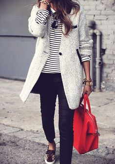 #stripes + red accent casual outfits, stripe, coat