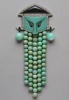 Dress ornament, ca. 1923.Georges Fouquet (French, 1862–1957)Jade, onyx, diamonds, enamel, platinum