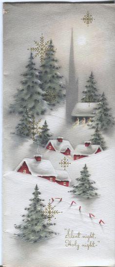 Vintage Christmas Card Snowy Village Scene
