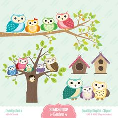 Owl Family Digital Clipart, Vector Graphics for Commercial and Personal Use