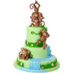 Wilton's Monkey Birthday Cake http://www.wilton.com/idea/Monkeying-Around-The-Waterfall-Cake?cmp=fb2013=0823monkeyingaroundcake