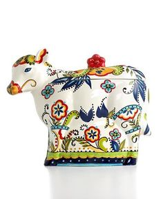 colorful cow cookie jar
