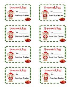 christmas homework passes