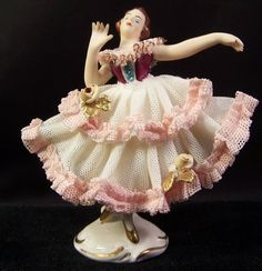 Porcelain Dresden W Ger. Dancer Lola White Dress Pink & Gilt Ruffles & Leaves