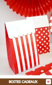 Boîtes à Cadeaux rouge #red #rouge #circus #partyideas #party #birthday #anniversaire #partyshop #partysupplies #partysuppliesshop #box #favorbox #polkadot #stripes #gift #packaging