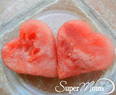 Watermelon Hearts - A healthy and simple snack idea for kids parties and just for fun! Tag: Valentines Day Breakfast | Valentines Day Snack | Healthy Valentines Day Treat | SuperMoms360.com