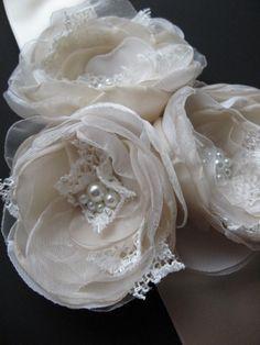 Bridal sash Wedding belt accessory Vintage Champagne Beige dress romantic sashes 3 flowers corsage ribbon dress sash ivory nude cream. $70.00, via Etsy.