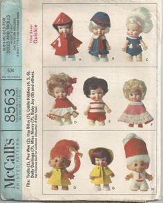 1966 Doll Clothes for Trolls, Pee Wee, Itsy Bitsy and other 3-4 1/2 Inch dolls McCalls 8563. via Etsy.