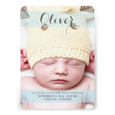 Thoroughly modern and simply elegant, this design is a perfect way to introduce your sweet little boy. Features lovely cursive typography, soft translucent blue bands of color and two large photos of your baby - one on the front and one on the back. The front also holds baby's birth information, and on the back a special text area to be personalized with parents and family info. #baby #birth #announcement #modern #simple #photo #two #photo #cursive #boy #blue #white #front #and #back #large ...