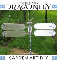 How To Make A Dragonfly from ceiling fan blades #gardenartproject #diy #recycled