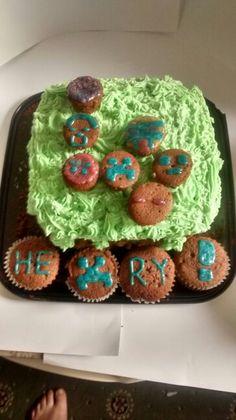My homemade minecraft cake for Henry #birthday