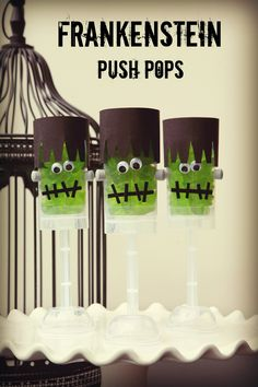 Frankenstein push pops are the perfect Halloween treat!