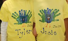 Handprint peacock painted onto a t-shirt for a zoo field trip.
