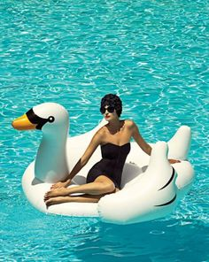 isn't she fancy on her pool swan?