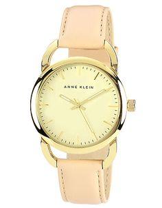 Women's round gold-tone  tan leather quartz watch // Anne Klein