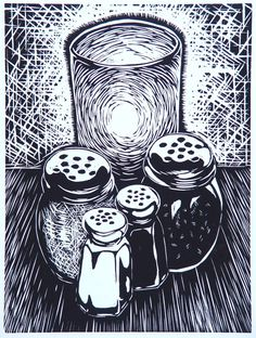 """'Angelo's"""" woodcut by Mike Gilligan. http://mikegilligan.weebly.com/ Tags: Linocut, Cut, Print, Linoleum, Lino, Carving, Block, Woodcut, Helen Elstone, Condiments, Glass, Candle."""