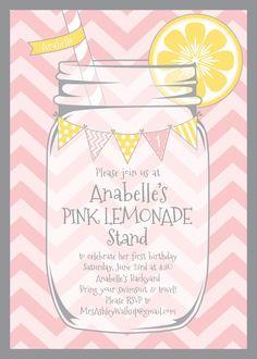 lemonade stands, birthday parties, party invitations, lemonad parti, bridal shower invitations