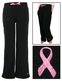 Pink+Ribbon+Wide+Leg+Fleece+Pants+at+The+Breast+Cancer+Site