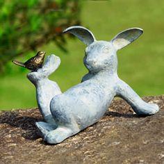 bird, play rabbit, funny animals, rabbits, gardens, garden sculptures, rabbit garden, garden statues, spring decorations