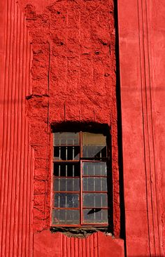 window in red color, red window