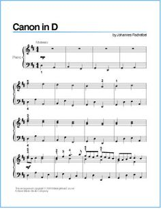 Canon in D (Pachelbel) | Free Printable Sheet Music for Piano