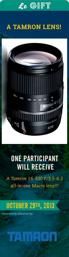 Happening in just 5 minutes!! Would you like to snag this killer lens? Well come on down to #PinUpLive tonight to chat with Tamron about photography - bring your tips and advice to share and automatically be in the running for this awesome gift. I guess the holidays are coming early this year! :) Just come to this board at 7pm EST tonight to join in: http://www.pinterest.com/earmarksocial/pin-up-live/