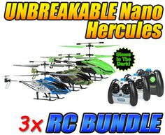 Nano Hercules, Camo Nano Hercules, and Glow in the Dark Nano Hercules Unbreakable 3.5CH IR RC Helicopter Bundle