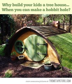 playhous, geek, hobbit hole, yard, potting sheds