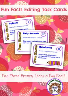 Practice editing, learn a fun fact! 200 cards to last the entire school year! Your students will love these!  $