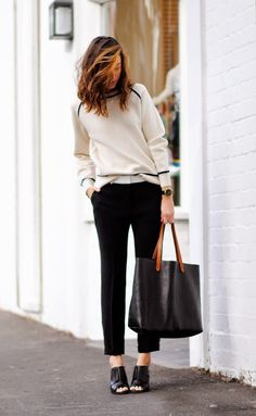 cream sweater, black pants, open toed booties #style