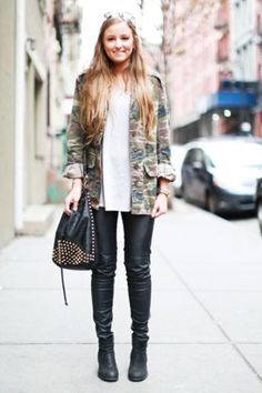 nyc street style. camo jacket and leather pants