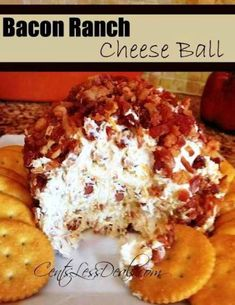 Bacon Ranch Cheese Ball: 2 pkg cream cheese, 1 pkg ranch dressing mix, 1 cup bacon crumbles, 1 cup cheddar cheese