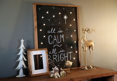 """Build a Lighted Holiday Chalkboard Sign """"All is Calm, All is Bright."""" #DIY holiday decor project via Ana White."""