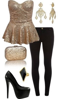 Holiday Outfits - Funny Girl Times--- similar to what I plan to wear on Christmas Eve -- pink sequin top, black skinnies, black shoes, sparkly earrings.