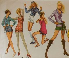 Vintage 70s Shorty Shorts, Tank Top, and Button Blouse Sewing Pattern