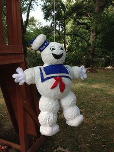 Stay puft marshmellow man piñata for a Ghostbusters birthday party