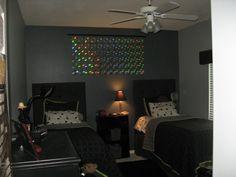 geek room, wall deco, comput geek, boy rooms, geeks, homes, cd wall, geek chic, accent walls