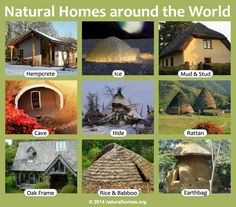 Naturally built homes use local, minimally processed, abundant and/or renewable natural materials. They are designed to suit their climate and geography, providing a modest shelter that lasts for many centuries. Ideally they, and the way they are lived in, are in balance and harmony with the environment. Follow the picture to find out more about each home on www.naturalhomes.org