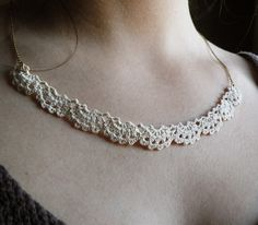 Beautiful, delicate white crochet necklace