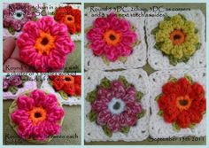 Crochet Bobble Flower Granny Square!  Love this!
