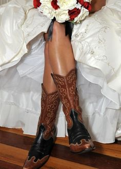 ❥ wedding gown w/ cowgirl boots. love it.