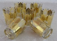 Vintage Cera Glass Gold Accented Ned Harris Barware Glasses