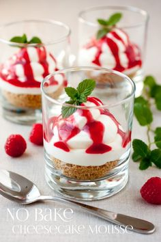 No Bake Cheesecake Mousse with Raspberry Sauce