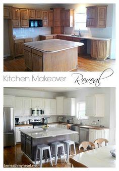 Dated oak cabinets to white (Benjamin Moore's White Dove) plus IKEA butcher block counter tops