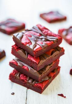 Red Velvet Chocolate-Swirled Brownie Bars {from scratch, not cake mix}