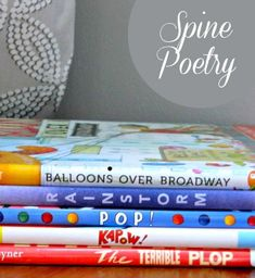 Easy Poetry Activity for Kids: Spine Poems!  Categorize books, stack them, and you have an instant poem.  An easy way to introduce poetry to students' who are hesitant to write.