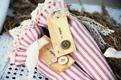 Red Ticking Lavender Sachets